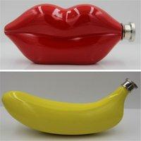 banana shapes - 5 OZ Stainless Steel Flask Hip Flask Banana Lip Shape Wine Flask Alcohol Liquor Flask Wedding Gift