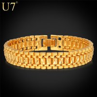 14k real gold - U7 K Gold Bracelet Men Jewelry Rock Style k Real Gold Platinum Plated cm MM Chunky Chain Link Bracelet H550