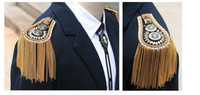 Wholesale Korean men s and women s fashion brooch small suit with tassels more fashionable rivets wind shoulder board mix color