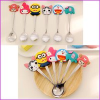 Wholesale Cartoon Spoon Stirring Coffee Spoon Baby Kids Dessert Spoon Feeding Children Spoon with Silicone Handle Tableware