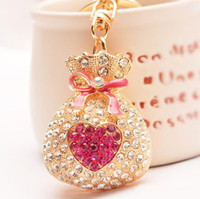 bag lady beat - Beat Wishes Korean Fashion Metal Lucky Bag Diamond Bontique Lady Girls Key Chains Beauty Jewerly Accessories Lover s Car Decorations