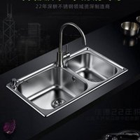 basin with integrated - stainless steel sink double groove integrated package drawing thickened vegetable washing basin sink