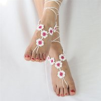 flat ring - New Fashion Summer Beach Crochet Barefoot Sandals For Wedding Bridal Accessories Pieces Tan Ankle Beach Foot Wear Toe Ring Ankle
