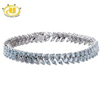 aquamarine fine jewelry - Ct Natural Aquamarine Solid Sterling Silver Link Tennis Bracelet for Women Fine Jewelry