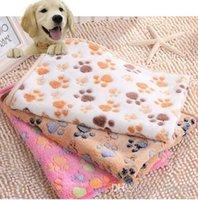 Wholesale 2016 Fashion x cm Cute Floral Pet Sleep Warm Paw Print Dog Puppy Fleece Soft Blanket