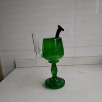 New Green Dab rigs 190mm hauteur Wine Cup bongs en verre tubes en eau de verre Inline Recycler Oil Rig fumant des tuyaux Joint taille 14.5mm hookahs