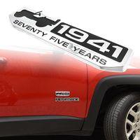Wholesale 75 Year Anniversary Metal Emblem Badge Nameplate for Jeep Wrangler CHEROKEE Sliver