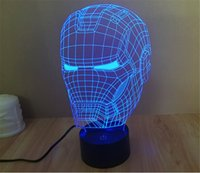 Wholesale SmartEra D Optical Illusion Iron Man Helmet Panel Model Lighting Night Color Change USB Touch button LED Desk Table Light Lamp