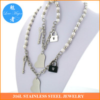 Wholesale 2016 Fashion New Design European style bridal stainless steel jewelry sets with simulated pearl necklace and bracelet for women