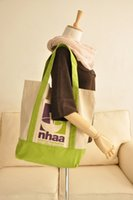 Wholesale HB546 Cozy Casual Print Large Canvas Sling Bag handbag tote Shopping Bag White with Green Bottom Edges and Shoulder Straps