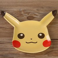 Wholesale Poke Plate Saucers Ceramic Pikachu Cartoon Movie Anime Figure Pocket Monster Fruit Dissert Coffee Plate Dining Bar Kitchen Plate