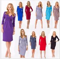 Wholesale 2016 Summer Women s Clothing Summer Dress Casual elegant solid black blue short sleeve V neck knee length women casual dress