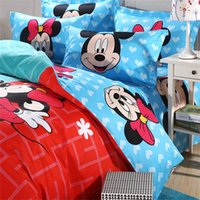 Wholesale Mickey and Minnie mouse full size kids cartoon bedding set Cotton Bed sheet Linens Duvet quilt comforter cover sets