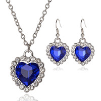 Wholesale Romantic Small Size Heart Of The Ocean Necklace Pendants Earrings Women Blue Crystal Rhinestone Jewelry Sets Choker Earrings Necklace