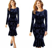 Wholesale New Cheap Royal Blue Velvet Long Dresses Women Fashion Casual Dresses Mermaid Pencil Bodycon Mid Calf Ruffle Spring Autumn Women Wear FS0058