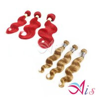 Wholesale 7A Brazilian Hair Weaves Body Wave Red Remy Human Hair Weaves