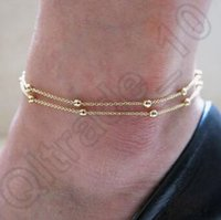 Wholesale 500pcs LJJC4355 High Quality Korean Style Fashion Sexy Double Chain Anklet Bracelet Ankle Chain Foot Jewelry Barefoot Simple Beads Anklets