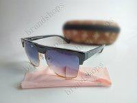 beige shade - Novel Goggle Outdoor brand designer Eyewear Sunglasses men women Half frame black shade Fashion Retro sun glasses with original Zipper case