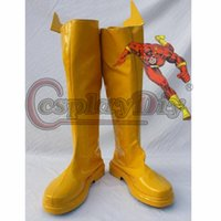 adult superhero shoes - Custom Made Marvel Comic Cosplay Boots The Flash Superhero Yellow Shoes For Adult D0425
