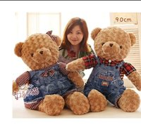 70 cm jeans couples ours en peluche peluche poupée en peluche jupe grande étreinte la poupée de poupée d'ours Un cadeau d'anniversaire