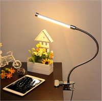 Wholesale LED Reading Eye Protect with USB Clamp Desk Table Lamp Adjustable Clip on Flexible Gooesneck Light W LED for Bed Laptop