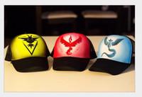 Wholesale 2016 Cheap Discount Adult poke go Ball Caps Colors Fashion Adjustable Mesh Baseball Cap Pokemn Go Hats Men and Women Drop shipping