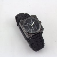 Wholesale Hot Survival Bracelet With Watch Compass Flint Fire Starter Scraper Whistle Gear