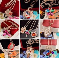 Wholesale 2016 New Fashion necklace chain with colorful diamond mix styles Pendants Women s Sweater chain Random delivery