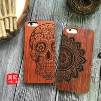 bamboo wood carving - Classical Retro iPhone s Wood Case Natural Cover for iPhone Plus se Genuine Walnut Bamboo Carving Designs Wood Slice Durable Plastic DHL