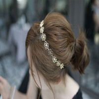 Wholesale Hot Women lady s fashion golden color alloy rose flower elasticity Headband vintage hair accessories for women