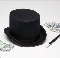 Wholesale 2016 Black magic hat fashion hot sale Halloween Magician Hat High Quality children s comsplay costumes accessories