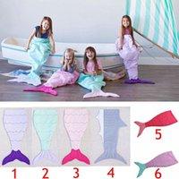 Wholesale Kids Mermaid Tail embroidered Sleeping Bags Mermaid Tail Shark Blankets Cocoon Mattress Sofa Bedroom Blankets Camping Travel Blankets