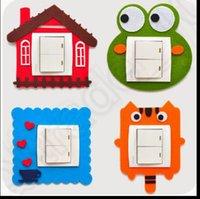 Wholesale 8 design LJJK278 Funny Cartoon Light Hollow Switch Poster Wall Decal Sticker Home DIY Multi Cartoon Switch Stickers No Hurting Wall Sticker