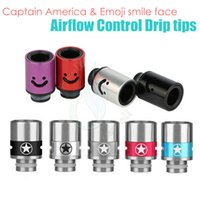 america smile - Top Airflow Control Drip Tips Captain America Emoji smile face huge vaporizer wide bore Mouthpiece tip ecigs atomizer RDA tank dripper