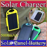 dustproof - 5000mAh Solar power Charger and Battery Solar Panel waterproof shockproof Dustproof portable power bank for Mobile Cellphone iphone B YD