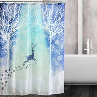 Wholesale 2016 Waterproof Christmas Snow Reindeer Polyester Shower Curtain Bath Bathing Sheer Curtain for Home Store School Hostel Decorations