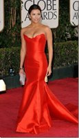 Wholesale 2016 Fashion Sweetheart Long Mermaid Red Celebrity Dresses Red Carpet Formal Evening Dresses Robe De Soiree Celebrites Eva Longoria Cheap