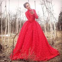 Precio de Novias musulmanes vestidos simples-Elegante encaje de manga larga musulmanes vestidos de novia de color rojo de cuello alto vestido de bola hinchada vestidos de novia Princesa vestidos de novia