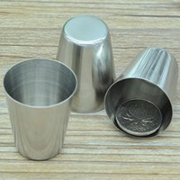 Wholesale Outdoor stainless steel wine glass small portable hip flask small handless wine cup liquor cup