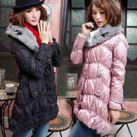 Wholesale Fashion Women s Winter Down Coat Warm Outwear Detachable Fur Collar Long Sleeved Long Down Jacket Parka Coats Black Pink Overcoat