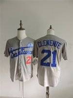 Wholesale Cheap Retro Button Down Stitched Santurce Crabbers Puerto Rico Roberto Clemente Flexbase Baseball Jerseys