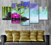 bamboo posters - 5 Panel HD Printed stones bamboo flower Painting Canvas Print room decor print poster picture canvas peasant paintings