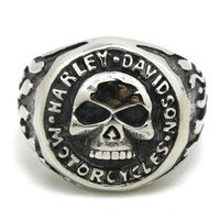 Wholesale 2pcs New Arrival Men Boys Biker Style Skull Ring L Stainless Steel Jewelry Band Party Cool Design Skull Motorcycles Ring