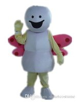 ants wings - SX0723 With one mini fan inside the head a white ant mascot costume with a pink wing for sale