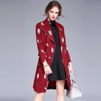 bead embroidery designs - European style big fashion winter lapel coat coat Europe and the United States graffiti printed women Slim coat Trench Coats Wool Blends