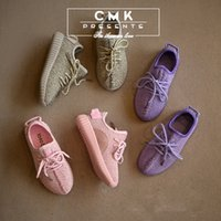 baby designer sports shoes - CMK Kids Sneakers for Boys Girls Designer Running Shoes Kanye West Boost Grey Pink Purple Baby Fashion Sport Shoes Size