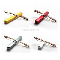 Wholesale Slim Small Mini Metal Reading Glasses Reader Spectacles E00371 Gold OSTH