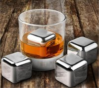beer freezer - 4pcs Stainless Steel Ice Cooling Cubes Whisky Wine Beer Drink Freezer Ice Rocks Physical Cooling Drink Party Gift
