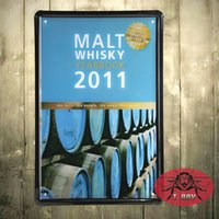 Wholesale Metal crafts Retro poster Vintage whisky metal tin signs Garage wall decor metal painting A