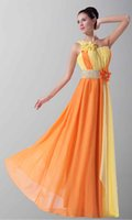arts variety - Available Variety Of Styles One Shoulder Beaded Waist Yellow And Orange Two Color Split Joint Appliques Prom Dresses Hot Design